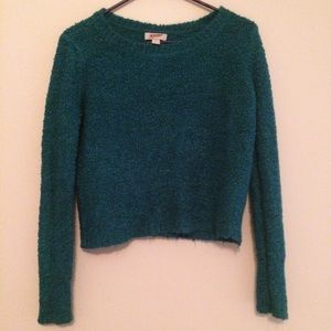 Fluffy turquoise sweater